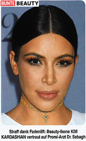 Kim Kardashian and Dr Sebagh featured in Bunte Beauty